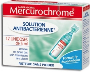 Mercurochrome - Désinfectants Solution antibactérienne 12 unidoses de 5 ml