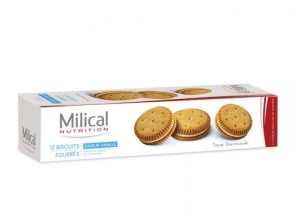Milical - Biscuits fourrés saveur vanille  - paquet de 12 biscuits