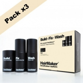 Illustration KIT cheveux noir  - Densificateur 25g + Spray 100ml + Shampoing 100ml x3