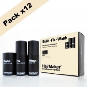 Illustration KIT cheveux noir  - Densificateur 25g + Spray 100ml + Shampoing 100ml x12