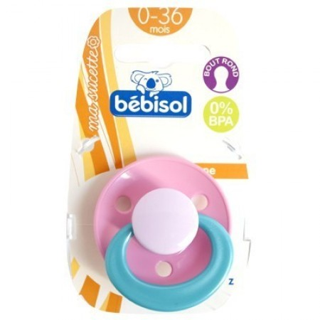 Bébisol - Sucette Z Bout Rond Silicone 0-36 mois - Rose x1