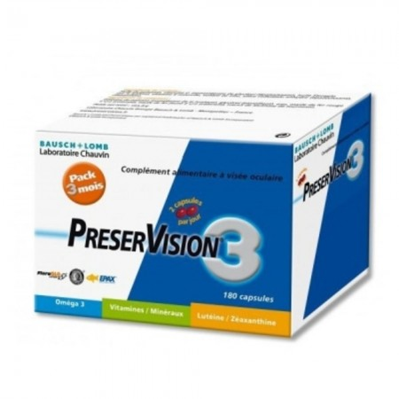 Bausch + Lomb Laboratoires Chauvin - Preservision 3 Complément alimentaire pack 3 mois - 180 capsules