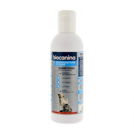 Illustration Shampoing Antiparasitaire Chiens et Chats Flacon de 200 ml