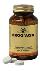 SOLGAR VITAMINS FRANCE - Croq'Acid Carbonate de calcium - 60 comprimés