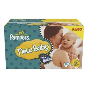 Pampers - Couches New Baby taille 2 (3 à 6 kg) paquet de 88 couches