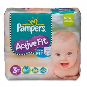 Pampers - Couches Active Fit  taille 3 (4 à 9 kg) paquet de 42 couches