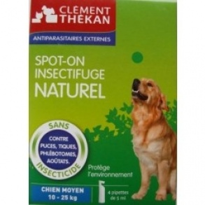 Clement Thekan - Spot-on insectifuge naturel chien de 10-25kg - 4pipettes