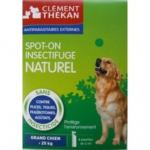 Clement Thekan - Spot-on insectifuge naturel chien de + 25kg - 4pipettes