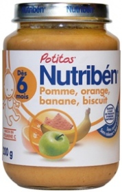 "Nutribén - Potito ""Pomme, orange, banane, biscuit"" - Pot de 200g"