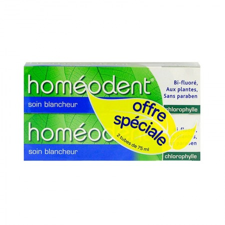 Illustration Homéodent - Dentifrice Soin blancheur - Chlorophylle - lot de 2x75ml