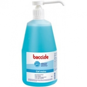 Illustration Baccide gel sans rincage mains pompe 1l