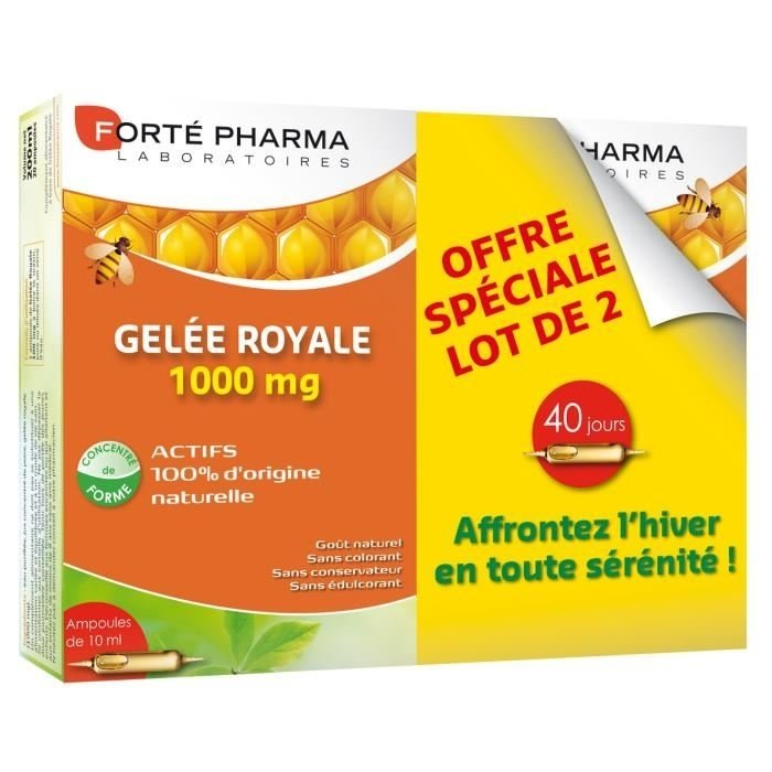Forte Pharma - Gelée Royale 1000 mg - lot de 2 x 20 ampoules de 15 ml