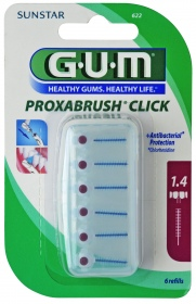 GUM - Brossette interdentaire Click 1,4 mm - 6 recharges