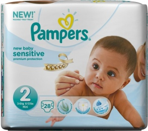 Pampers - Couches New Baby Sensitive taille 2 (3 à 6kg) paquet 28 couches