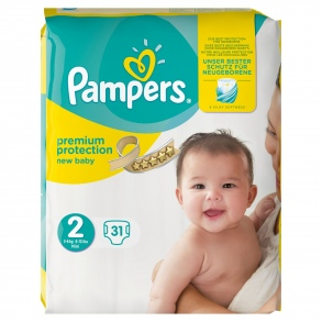 Pampers - Couches New baby taille 2 (3 à 6 kg) paquet de 31 couches
