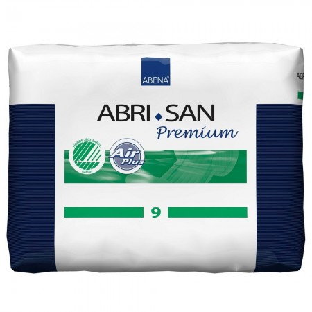 Illustration ABRI-SAN AIR PLUS N°9 PACK 25*4 2400ML 37X73CM VERT COUCHE D'INCONTINENCE