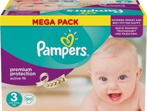 Pampers - Couches Active Fit Midi taille 3 (4 à 9 kg) paquet de 90 couches