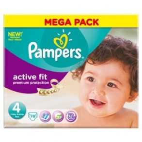 Pampers - Couches Active Fit taille 4 (8 à 16 kg) méga paquet de 78 couches