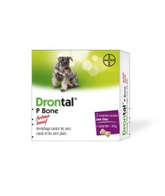 Illustration drontal p bone boeuf chien 2 comprimes vermifuges
