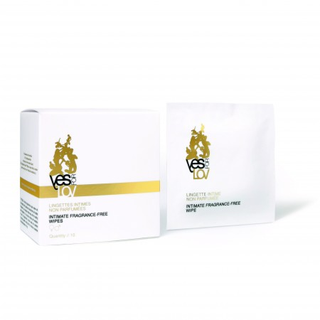 YESforLOV - LINGETTES INTIMES NON PARFUMEES, 10 lingettes individuelles