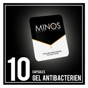 Illustration Minos capsules x 10 gel antibactériens main.