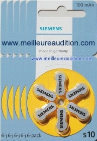Siemens - Piles Auditives SIEMENS - 5 plaquettes S10