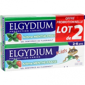 Elgydium - Elgydium Kids dentifrice Protection caries menthe-fraise 2 x 50ml