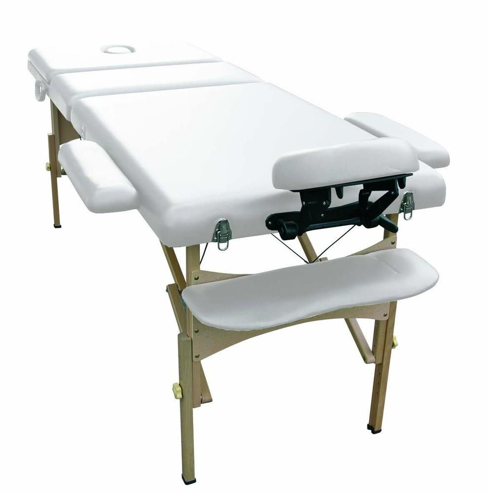 Holtex - Table Massage Pliante Bois Gris Clair tetiere reglable