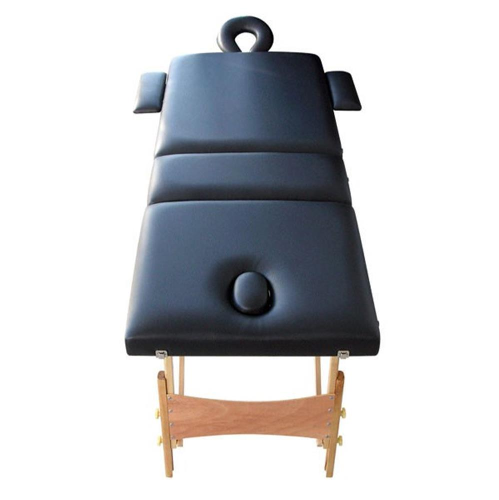 Holtex - Table Massage Pliante Bois Noir Tetiere reglable