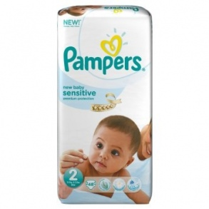Pampers - Couches New Baby Sensitive taille 2 (3 à 6 kg) lot de 3 paquets 48 couches