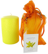 Illustration  Bougie Parfum Mimosa Dans son Sachet Orange en Organza