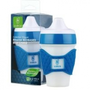 Vieco  - Tasse d'apprentissage a bec biobased blue crystal - 180ml 5 mois+