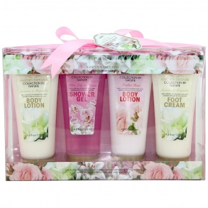 Illustration Coffret de Bain - Garden Dreams - Rose, Lys & Freesia, Jasmin & Magnolia - 4 Pcs