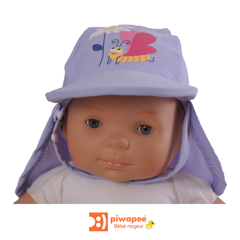 Illustration CASQUETTE ANTI UV UPF50+  PAPILLON LAVANDE 3-6M TT44