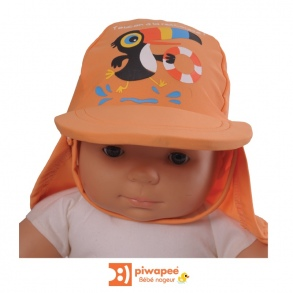 Illustration CASQUETTE ANTI UV UPF50+  TOUCAN MANDARINE 12-24M TT49