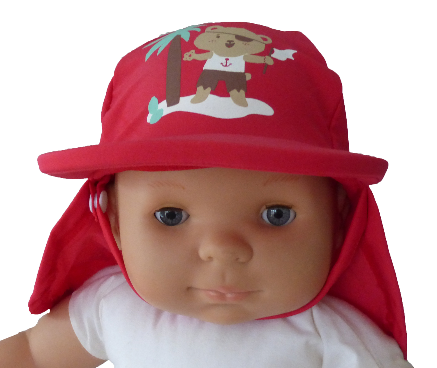 Illustration CASQUETTE ANTI UV UPF50+  OURSON ROUGE 3-6M TT44