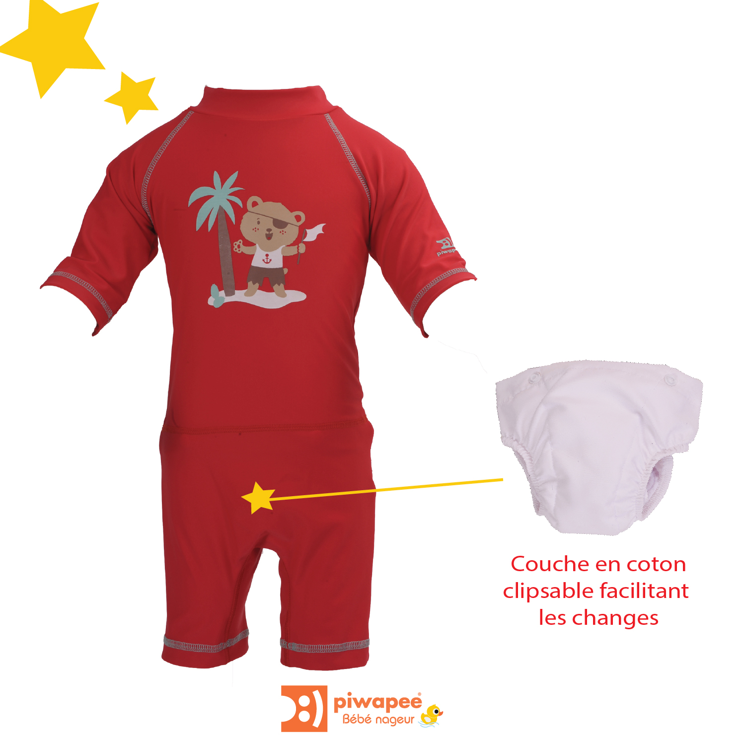 Illustration COMBINAISON ANTIUV UPF50+ AVEC MAILLOT COUCHE CLIPSABLE  OURSON ROUGE 8-11 KG / 6-12M