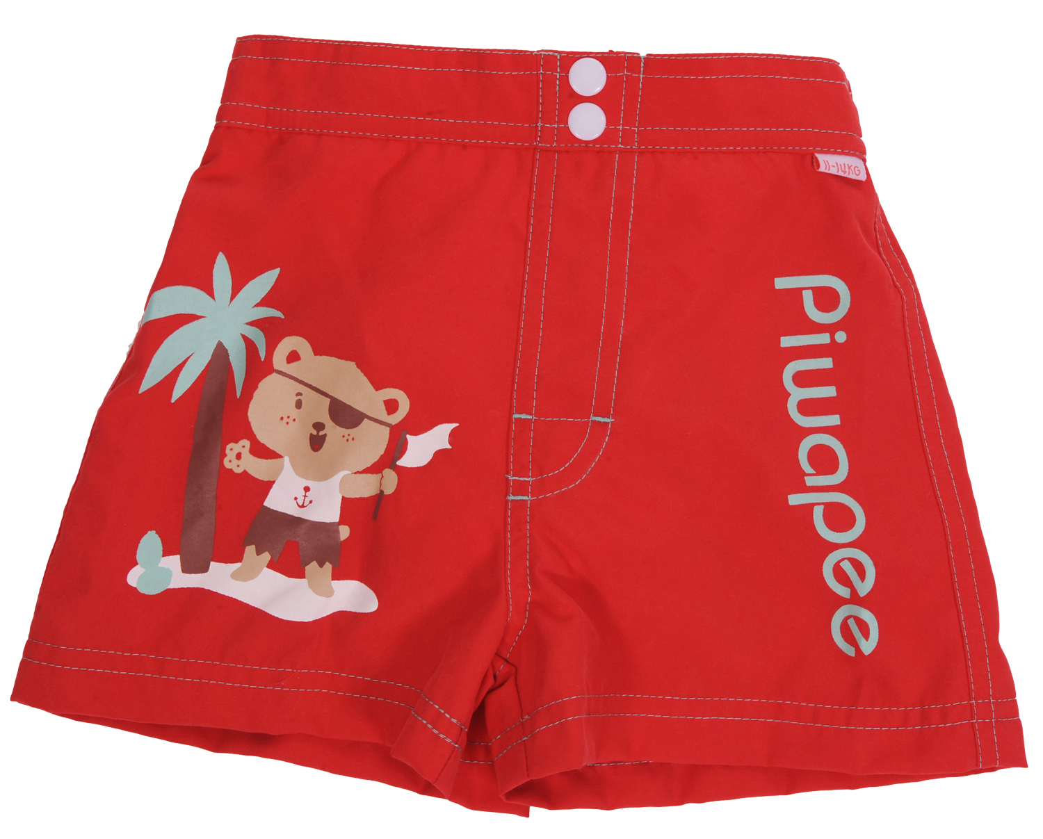 Piwapee - SHORT COUCHE BEBE  OURSON ROUGE 8-11KG