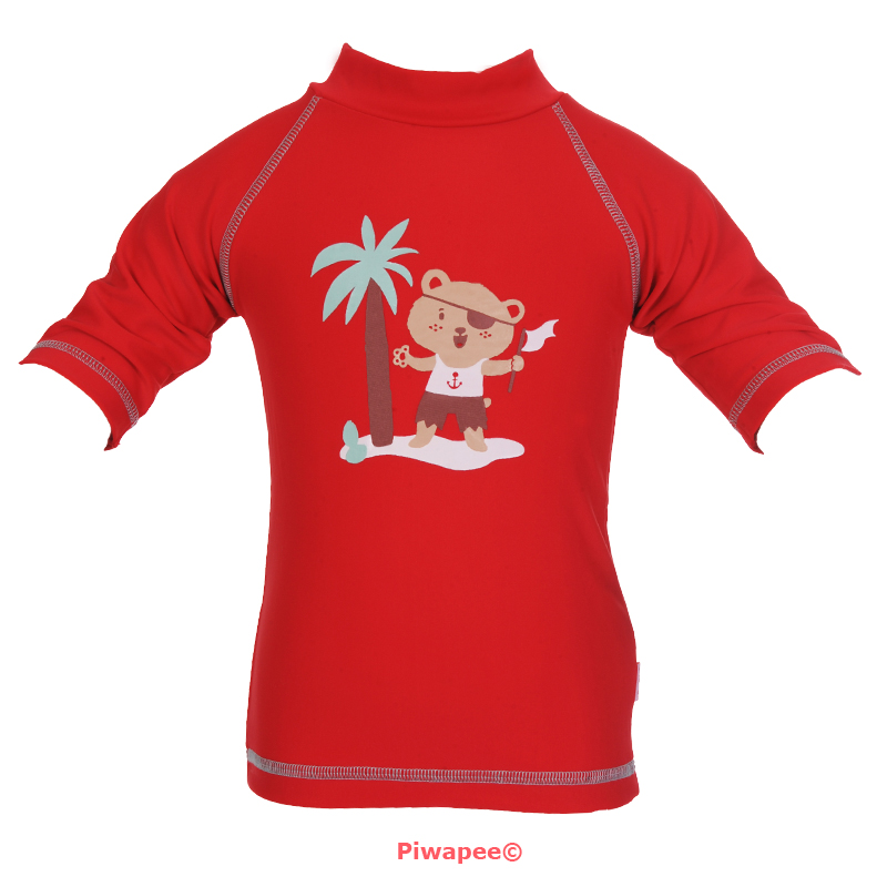 Illustration TOP ANTI UV UPF50+  OURSON ROUGE 3-6M