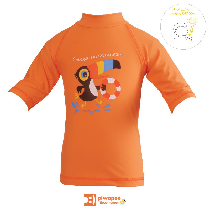 Illustration TOP ANTI UV UPF50+  TOUCAN MANDARINE 6-12M