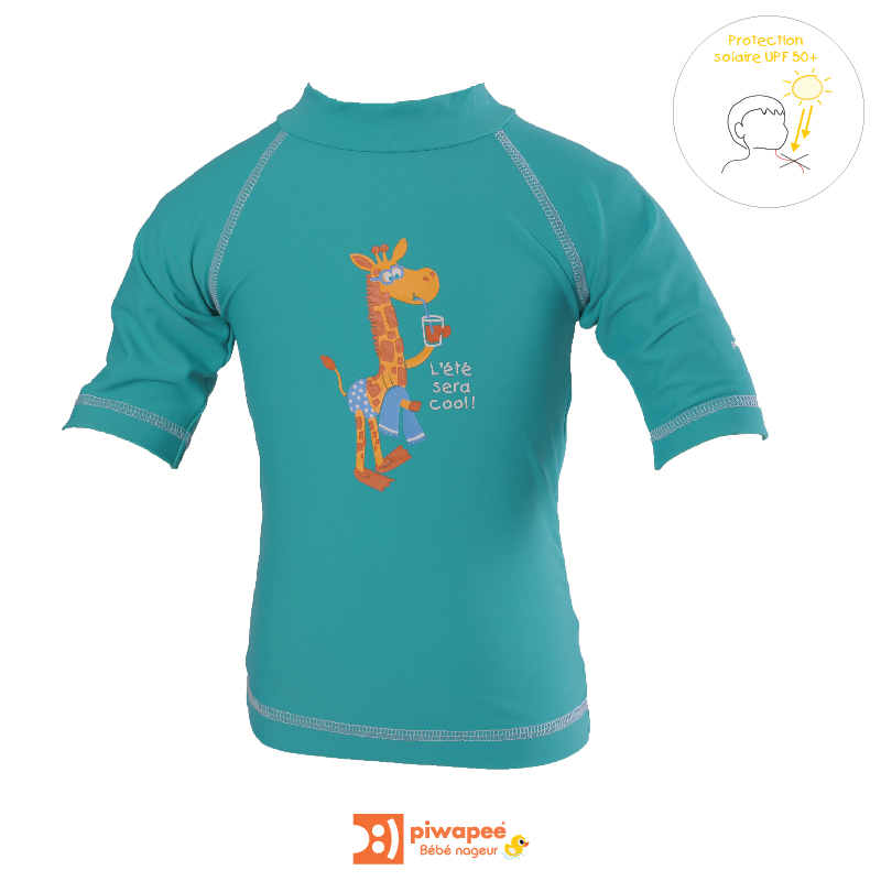 Illustration TOP ANTI UV UPF50+  GIRAFE VERT EMERAUDE 6-12M