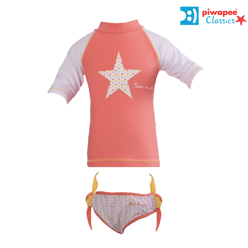 Illustration ENSEMBLE TOP ANTI UV UPF50+ ET MAILLOT  STARS CORAIL  6 ANS