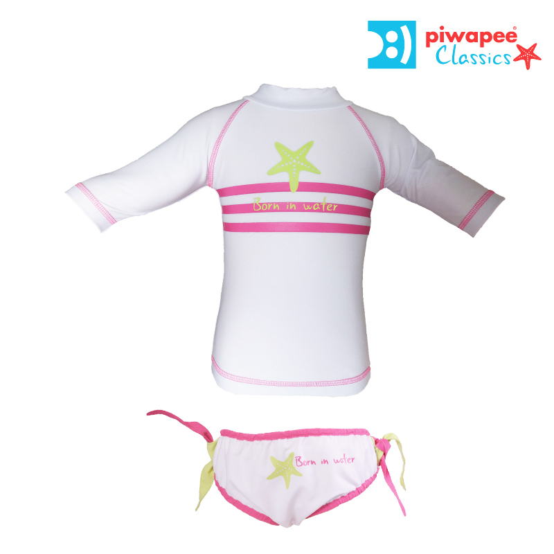 Illustration ENSEMBLE TOP ANTI UV UPF50+ ET MAILLOT  ETOILE MER FILLE 6-12M