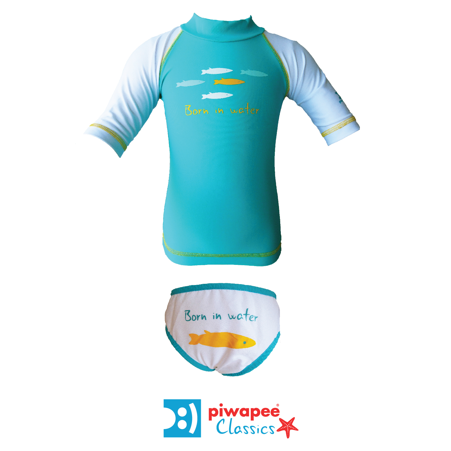 Illustration ENSEMBLE TOP ANTI UV UPF50+ ET MAILLOT  SARDINES VERT EMERAUDE 6 ANS
