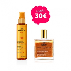 Illustration DUO Nuxe Huile bronzante SPF 30 150ml + Huile prodigieuse or 50ml