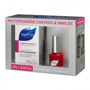 Phytosolba - Coffret Phytophanère Cheveux & Ongles - complément alimentaire 120 capsules + vernis à ongles + kit manucure