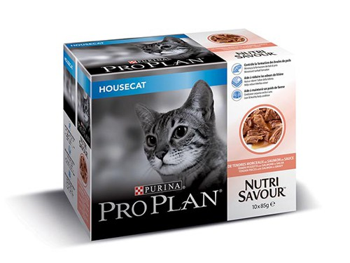 Illustration Pro Plan Cat Nutrisavour Housecat Saumon 10 pochons x 85 g pour chat