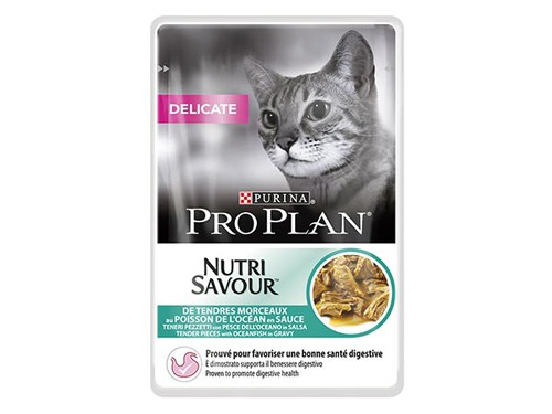 Illustration Pro Plan Cat Nutrisavourt Delicate Poisson 24 pochons x 85 g pour chat