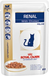 Royal Canin - Croquettes Royal Canin Veterinary Diet Cat Renal Poulet Sachet 12 x 85 g pour chat