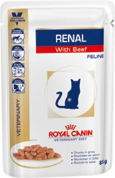 Illustration Croquettes Royal Canin Veterinary Diet Cat Renal Boeuf Sachet 12 x 85 g pour chat